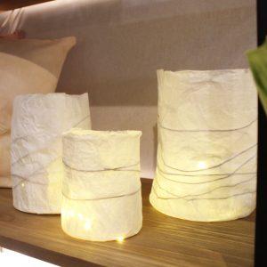 Lot de 3 lampions en papier recyclé